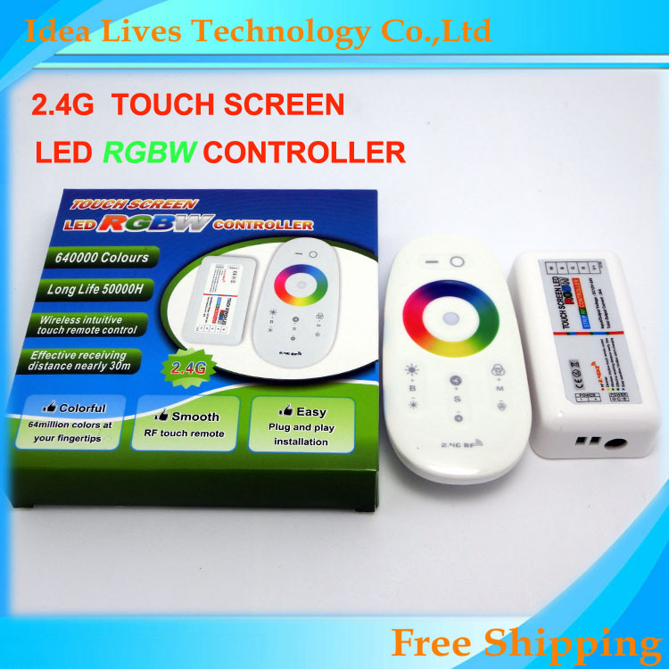 2.4G RF Wireless RGBW 4 Channels LED Controller DC12-24V 24A touch screen remote control for RGBW led strip,1set/lot(China (Mainland))