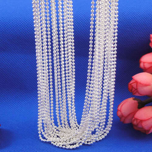 """Wholesale 10pcs/lot Fashion Silver Necklace Chains,1mm Silver Rould Ball Beads Chain Necklace For Women 16""""-30"""",pick length!(China (Mainland))"""