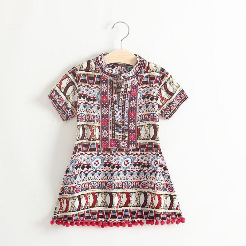 Retail new arrival kids summer fashion Thailand style dress kids tassel dresses 4299(China (Mainland))