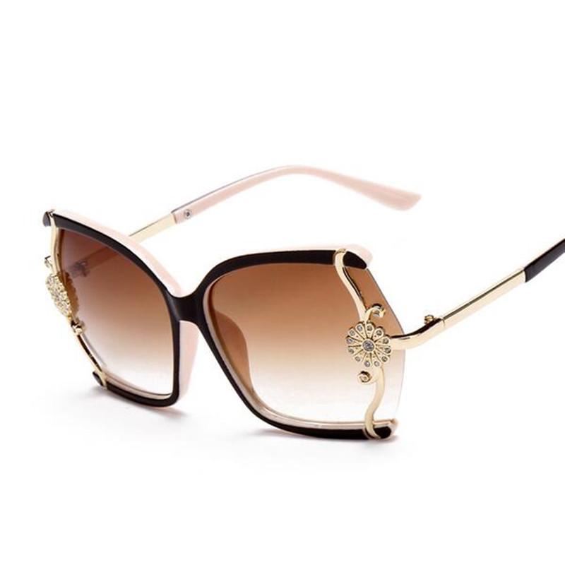 Wide Framed Fashion Glasses : 2016 Intage Large framed Butterfly Women Sunglasses Flower ...
