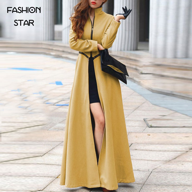Fashion Full Sleeve Plus Size Zipper Thick Womens Overcoat Womens Autumn Slit Long Coats Woman Burderry Trench CoatОдежда и ак�е��уары<br><br><br>Aliexpress