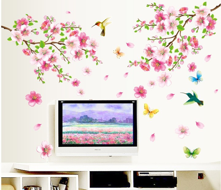 Large ZY9158 Elegant Flower Wall Stickers Graceful Peach Blossom birds Wall Stickers Furnishings Romantic Living Room Decoration(China (Mainland))