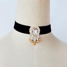 Statement Velvet Choker Necklaces For Women Vintage Boho Crystal Collares Choker Neck Pendants & Necklaces Fashion Jewelry 2016(China (Mainland))