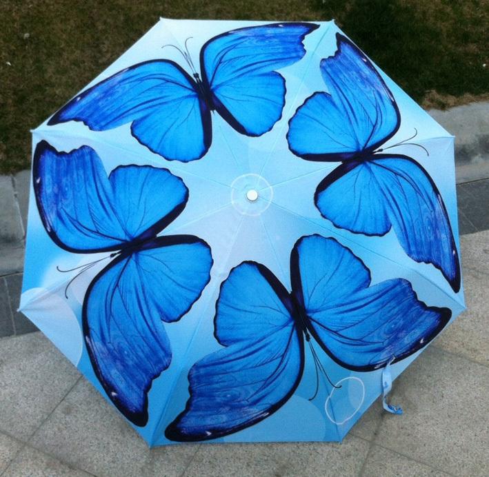 Oil Painting Umbrella Chinese Blue & Coffee 2 Color Romantic Butterfly Umbrella UV Protection Sun And Rain Ladies Sun Umbrella(China (Mainland))