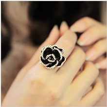 Min.order is $15 (mix order) Free Shipping & Fashion Open Ring Women Vintage Water Black Rose Flower Ring XY-R95