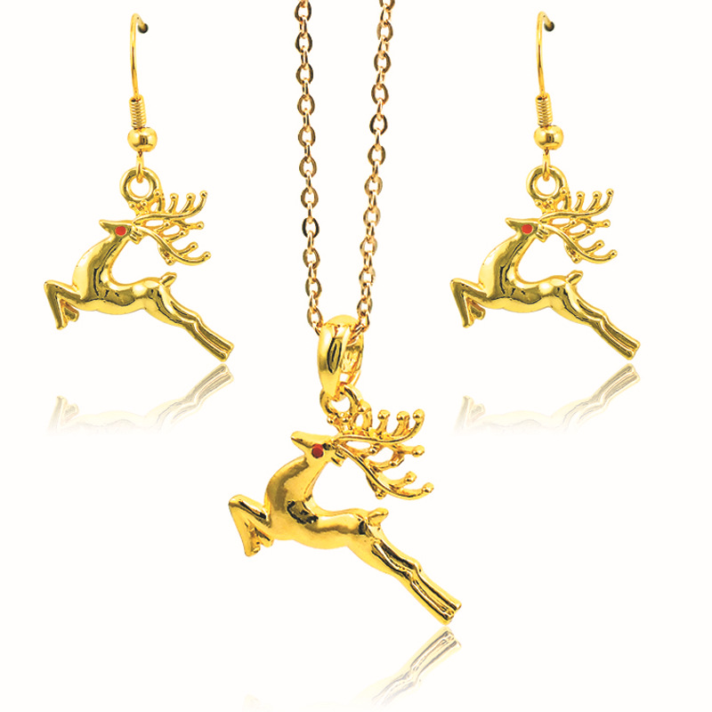 2016 new Fashion Celebrating Winter Christmas Jewelry sets Christmas Deer Wreath Cute Pendant Necklace&Earring Gift(China (Mainland))