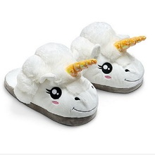 Plush Unicorn Cotton Home Slippers for White Despicable Winter Warm Chausson Licorne Indoor Christmas Slippers Fit Size36-41(China (Mainland))