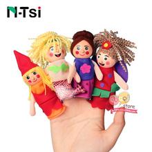 N-Tsi Cartoon Animal Monkey Dog Characters Finger Puppets Theater Show Soft Velvet Dolls Props Kids Toys for Children Gift Game(China)
