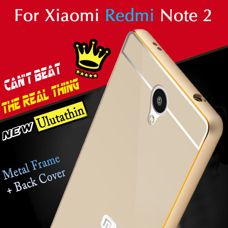 Original Xiaomi Redmi Note 2 Case Metal Aluminum Frame Phone Back Cover 5.5' Full Protect Fundas - New Mobile Era Technology Co.,Ltd. store