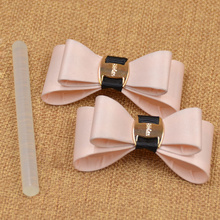 1 Pair Elegant Women Bow Bowknot Metal Shoe Clips Glue Buckle Fashion Shoe Decoration Removable(China (Mainland))