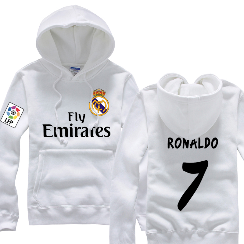 New 2014 real Madrid sweatshirt Printed Hoodies cristiano ronaldo #7 collar fleece pullover Men women sportswear Free ship(China (Mainland))