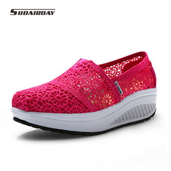 2017 new Massage Breathable Women flat Shoes Lace Loafers Summer Wedges Lose Weight Creepers Platform Shoes Lady Swing Shoes