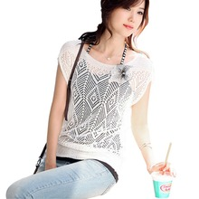 2016 Summer Style Women Ladies Loose Causal Hollow-out Short Batwing Sleeve Knit Jumper Tops Sweater For Plus Size Shirts A1(China (Mainland))