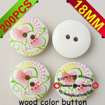 200PCS  18MM hearts designs wood color sewing button jewellery accessories MCB-220M