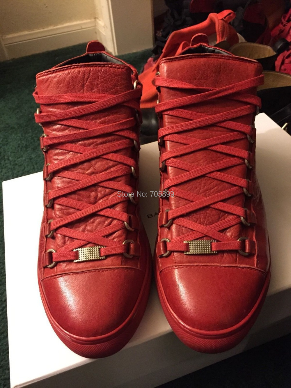 Free Shipping Dropship 99% original brand Boots Red Arena Sneakers Mens Fashion High Top Best Leather Running West Footwear US12(China (Mainland))