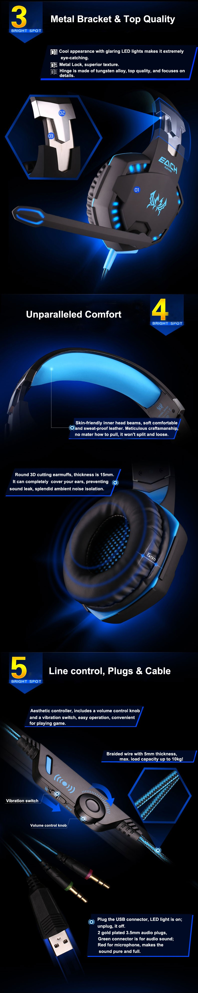 Each G2100 Gaming Headset Auriculares for PC Hamer with Vibration Function Mic/Microphone Headphones Luminous