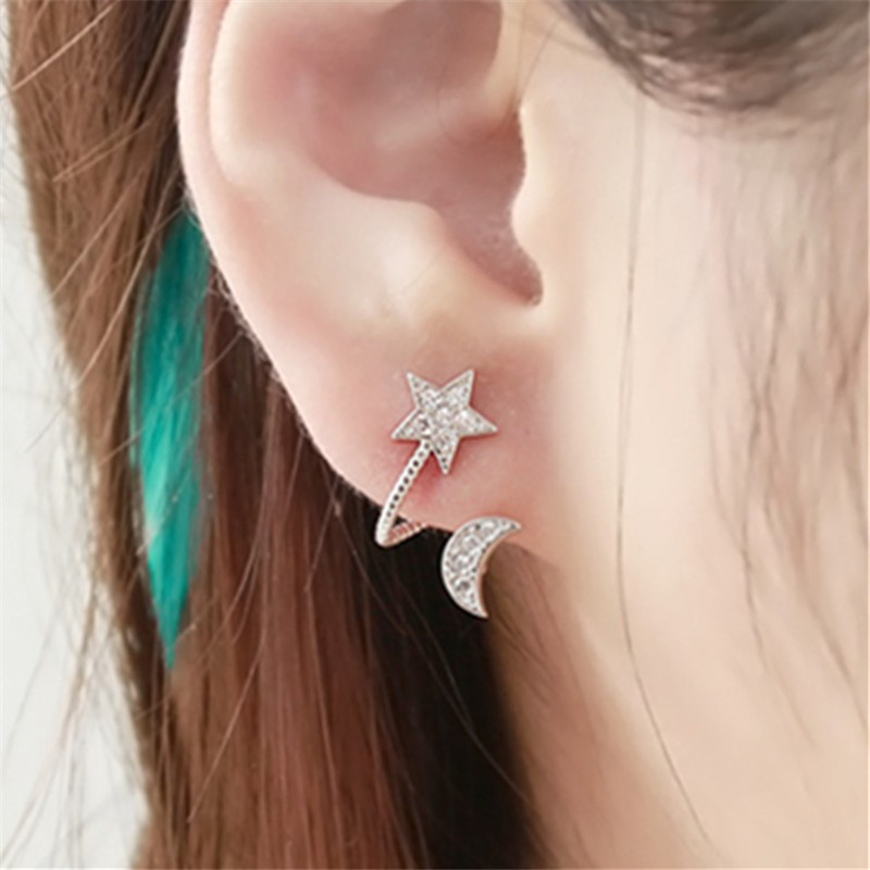 Elegant Women Stud Earrings Stars Moon Shining CZ Stones Channel Setting Piercing Earring For Lovers(China (Mainland))