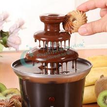 Mini 3-Layers Chocolate Fondue Machine Choco Tree Chocolate Melts Tower Furnace Chocolate Fountains With Heating Free Shipping(China (Mainland))