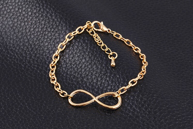 Hot New Plating Gold Metal Cross Infinite Bracelet & Bangle Charm chain bracelets Jewelry Wholesale For Women(China (Mainland))
