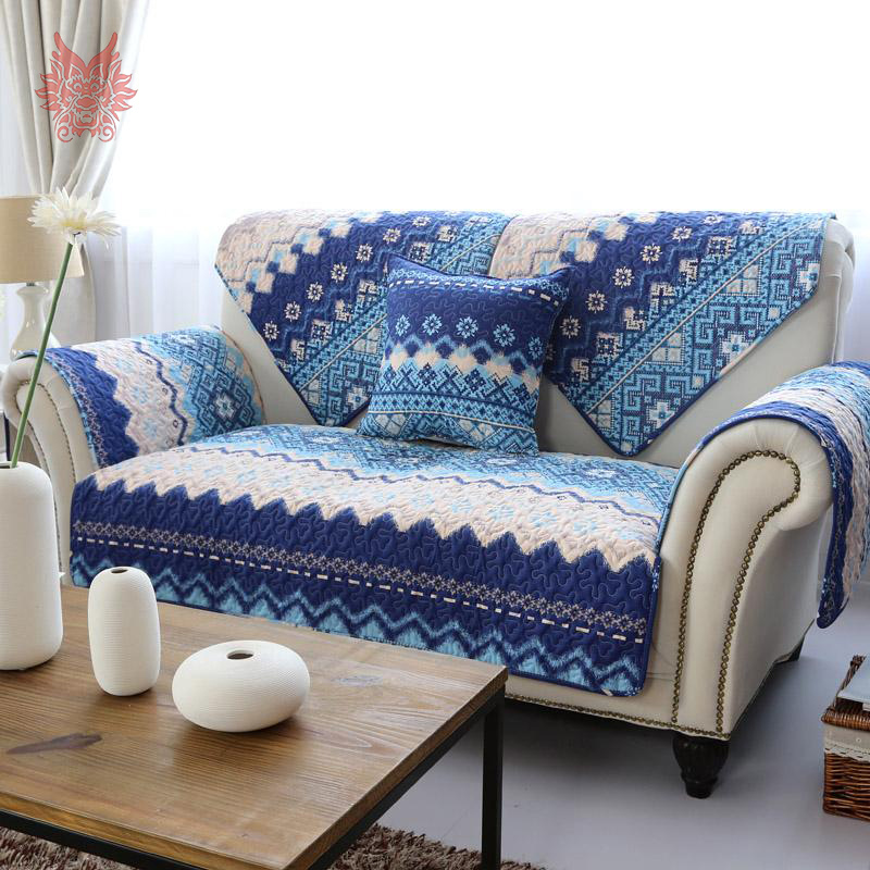Aliexpresscom buy 110210cm 1pc american style white for Blue floral sofa covers
