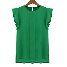 2015 New Women Blouses Sleeveless Fashion Chiffon Blouses Lady Crew Neck Flounced Sleeve After The Open Collar Shirts(China (Mainland))