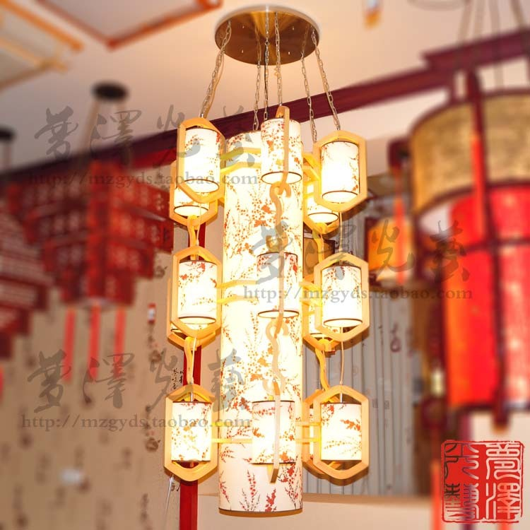Quality chinese style lamp log sheepskin modern lighting fitting pendant light lobby lamp project light lighting(China (Mainland))