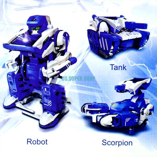 Kids 3 In 1 Solar Power Educational Science Toy Robot Transformer DIY Model Kit EN0818 pokemon Robot(China (Mainland))