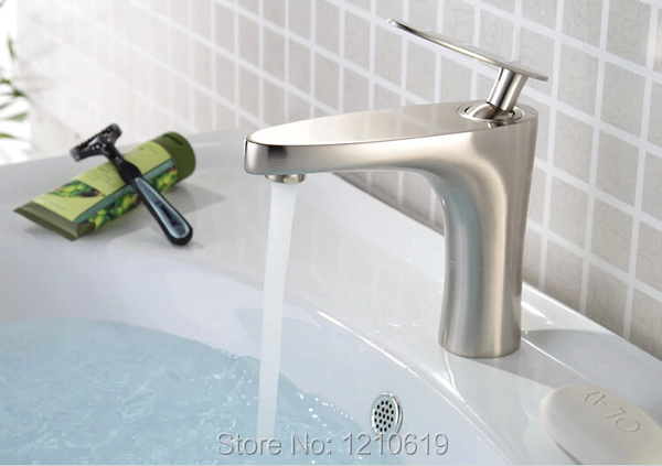 Фотография New US Free Shipping Brushed Nickle Single Lever Bathroom Sink Basin Faucet Fashion Creative Mixer Tap Single Hole Deck-mounted