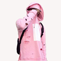 New Fashion Mens Hip Hop Pink Hoodies With Holes Male Fashion Streetwear Sweatshirt Side Split Hi