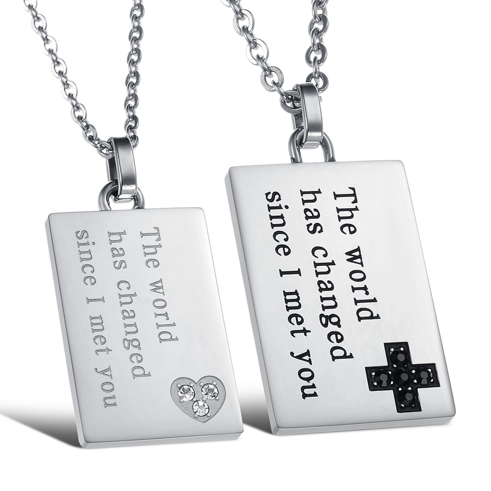 korean couple necklace titanium necklaces pendants cute