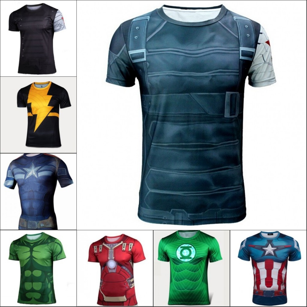 Marvel Super heroes Batman Sports Boys T Shirt Men Compression Armour Base Layer short sleevesThermal Under Top Fitness T- shirt(China (Mainland))