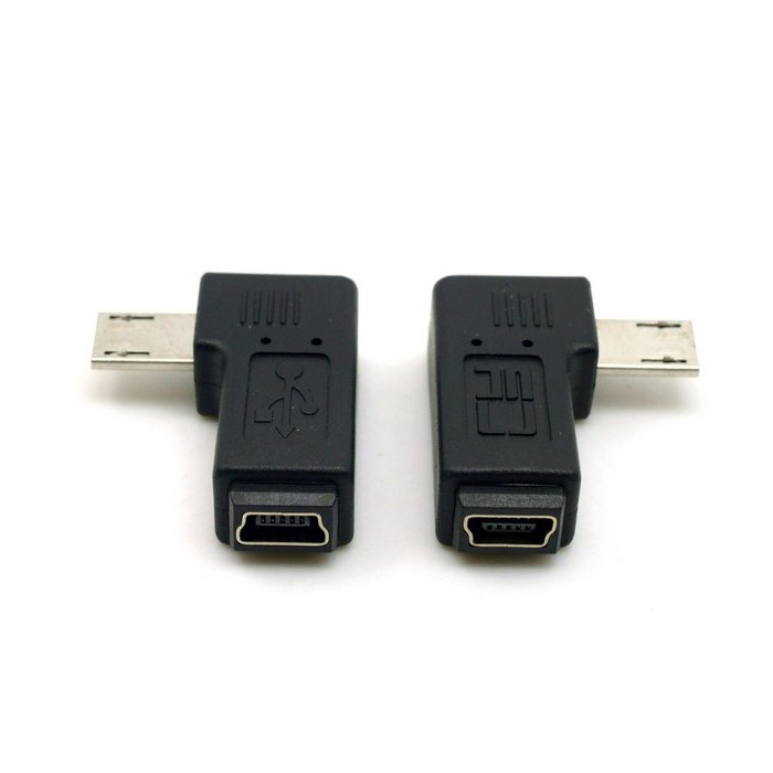 2pcs 9mm Long Connector 90 Degree Left & Right Angled Micro USB 5Pin Male to Mini USB Female Extension Adapter(China (Mainland))