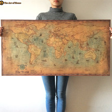 XXL Global world map poster living room home decorations  Kraft Paper& Vintage Retro Wall Posters MapOf World Nautical maps (China (Mainland))
