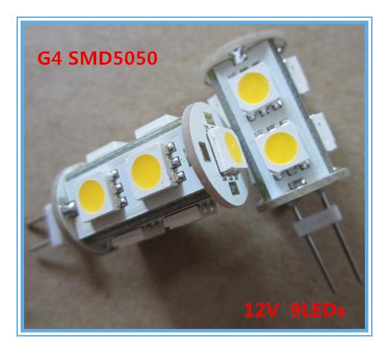 LED G4 12V 9LEDs SMD5050 LED Lamp 1.5W G4 Epistar 2800-7000K LED Bulbs White / Warm White / Cool White 10PCS<br><br>Aliexpress