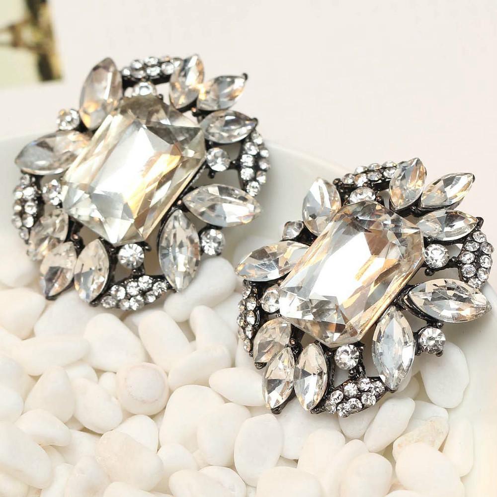 HOT Women's fashion earrings brand sweet metal gems stud crystal earring women girls J C Z - YaYi Jewelry store