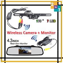 HD 4.3 inch Mirror Monitor DVD Display Wireless IR night vision Car Rear View Camera Backup Parking Reverse Camera Free Shipping(China (Mainland))