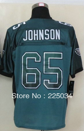 Free Shipping USA Football Jersey #65 Lane Johnson Drift Fashion Green Elite Football Men's Jersey Embroidery name and number(China (Mainland))