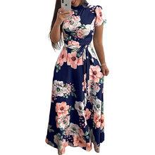נשים קיץ שמלת 2019 מקרית קצר שרוול ארוך שמלת Boho פרחוני הדפסת מקסי שמלת גולף תחבושת אלגנטי שמלות Vestido(China)