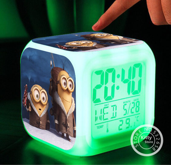 Retail Despicable me minions dolls Night Colorful Glowing toys LED 7 Colors Changing Digital time table Wholesale(China (Mainland))