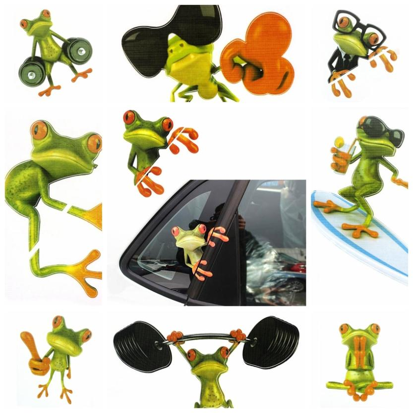 Retail New Funny Car Stickers Design 3D Peep Frog Peep Frog Cool Car Stickers And Decal Window Graphics Sticker Wholesaling !(China (Mainland))