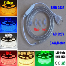 AC220V 3.6W/m 60led/m SMD3528 LED Decoration Strip Light white/warm white/ red/gree/ blue/yellow, Flexible Light Non- Waterproof(China (Mainland))