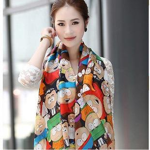 Бесплатная доставка 2016 шарфы женщин роман мультфильм рис мода южный парк шифон шелковый шарфы женщины мыс платок