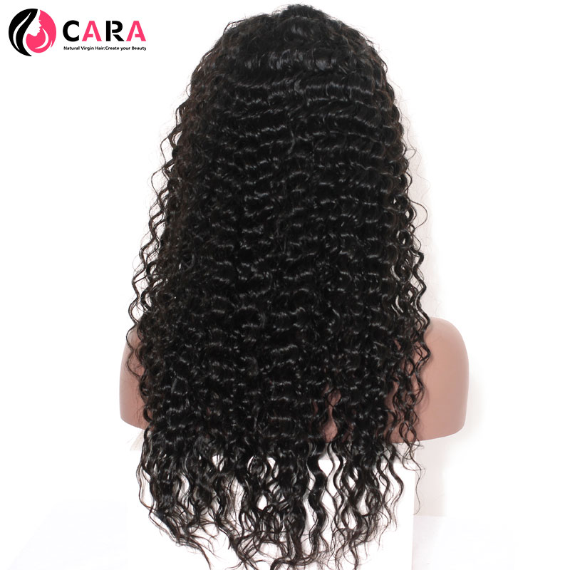 CARA 360 Lace Frontal Wigs For Black Women Deep Wave Natural Color Pre Plucked Natural Hairline Remy Hair Human Hair Wigs