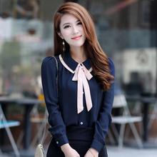 Women Chiffon Blouse  Elegant Bow Long Sleeve Women Blouses 2015 New Women Tops Shirt(China (Mainland))