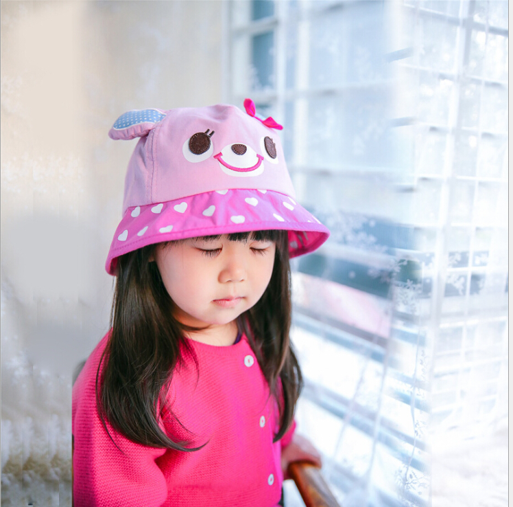 Spring and summer baby hat summer rabbit embroidered child bucket hat sunbonnet for kids girl 2016(China (Mainland))