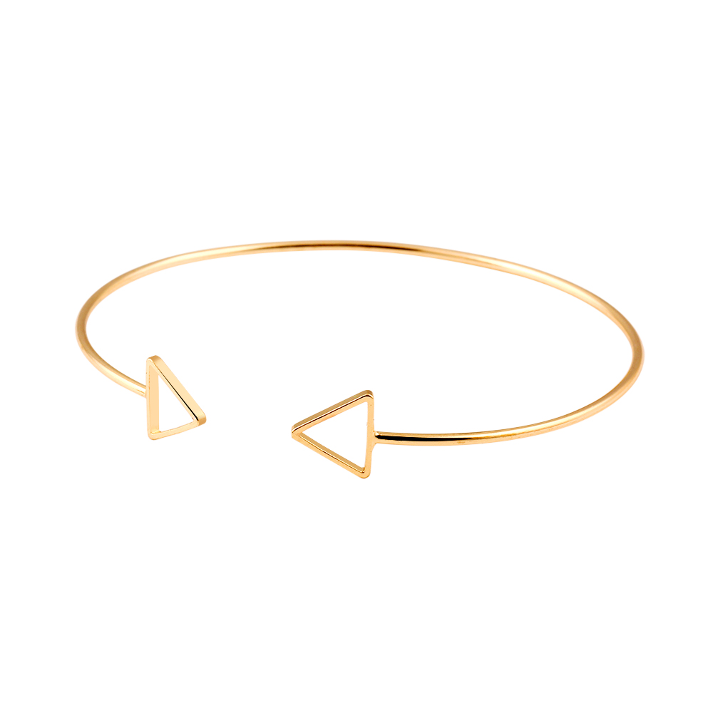 Trendy Geometric Double Triangle Bangle Alloy Plated Gold Silver Classic Bangles Fashion Jewellery Design Opening Men Women CS16(China (Mainland))