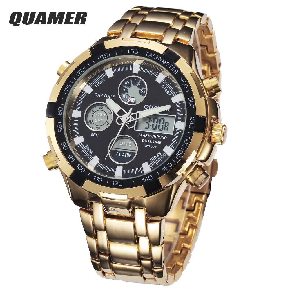 2015 Fashion Digital Watches Men Led Full Steel Gold Male Clock Men Military Wristwatch Quartz Sports Watch Relogio Masculino(China (Mainland))