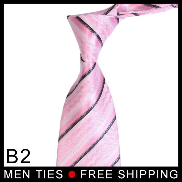 1 pcs Free shipping or mix order wholesale Pink Stripe Silk Classic fashion design tie for men+best selling(China (Mainland))