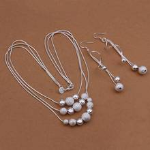 Wholesale  silver plated Jewelry Set,silver Fashion Jewelry,Sand Light Bead Necklace+Earring Two Piece Set SMTS423(China (Mainland))