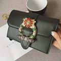 2016 Beautiful Women Fashion Handbags PU Leather Diamonds Gemstone Flower Hand Bag Flap Shoulder Messenger Crossbody